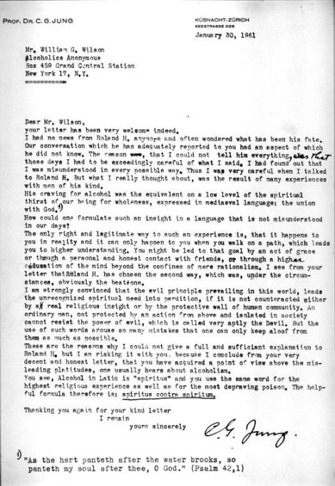 Carl Jung's letter to Bill WIlson